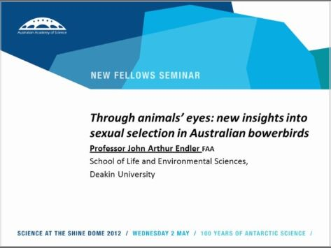 Professor John Arthur Endler - Through animals' eyes - new insights into sexual selection in Australian bowerbirds