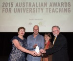 Mike is pictured with Prof Beverley Oliver, Prof Liz Johnson and Prof Malcolm Campbell